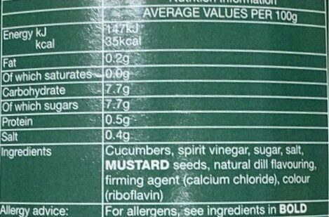 Pickled Cucumber Spears with Dill - Nutrition facts - en