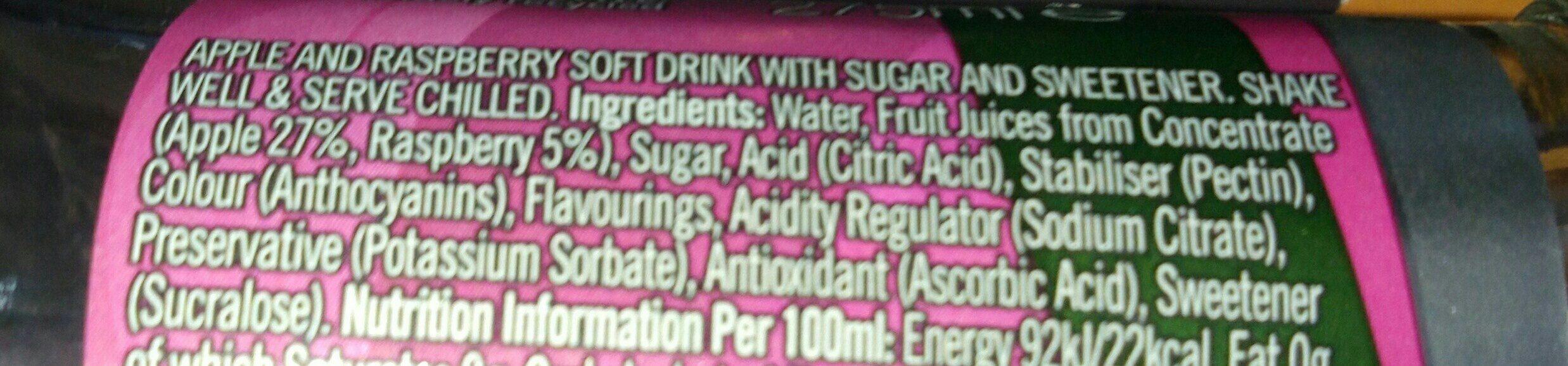 J2o Soft Drink Sparkling Apple & Raspberry - Ingrédients - fr