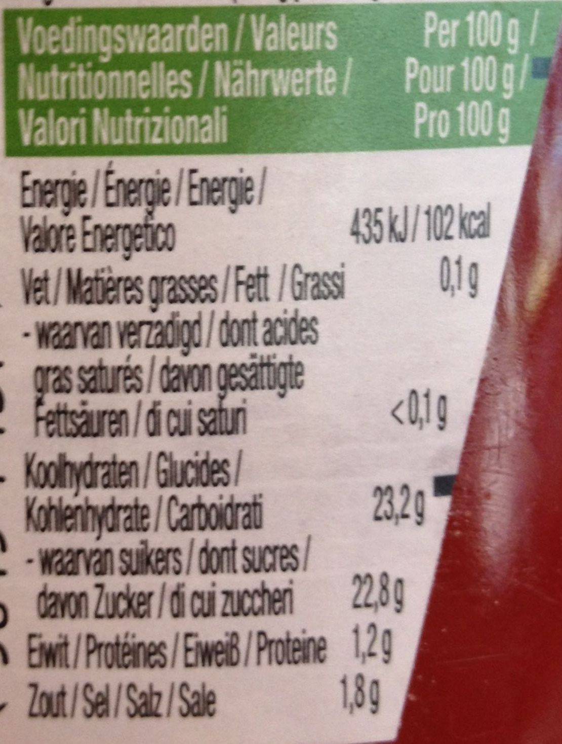 Tomato Ketchup - Información nutricional