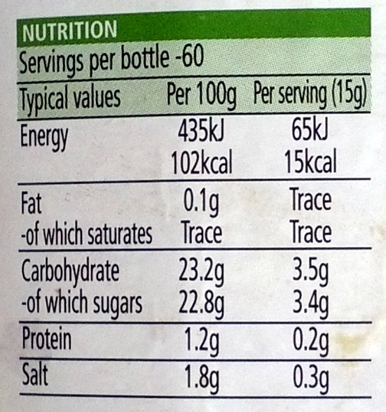 Heinz Tomato Ketchup - Nutrition facts