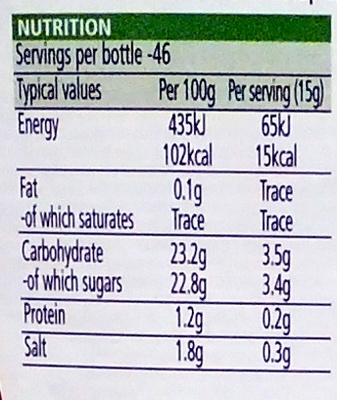 Tomato Ketchup - Nutrition facts - en