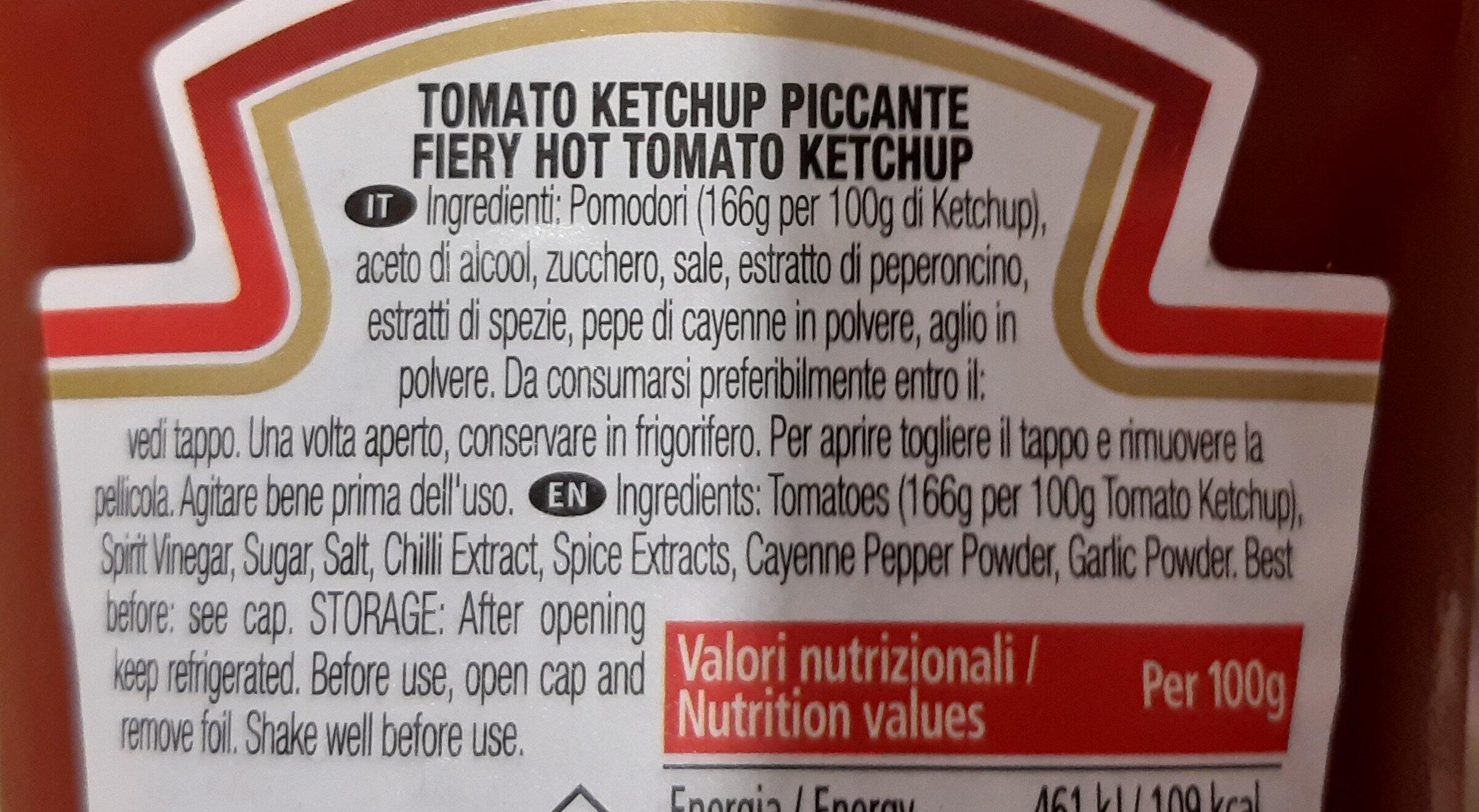 Tomato Ketchup Piccante - Ingredienti - it