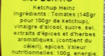 Tomato Ketchup (20% extra free) - Ingredients - fr
