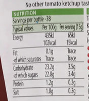 Tomato Ketchup (20% extra free) - Nutrition facts - fr