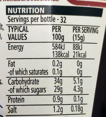 Classic barbecue - Nutrition facts