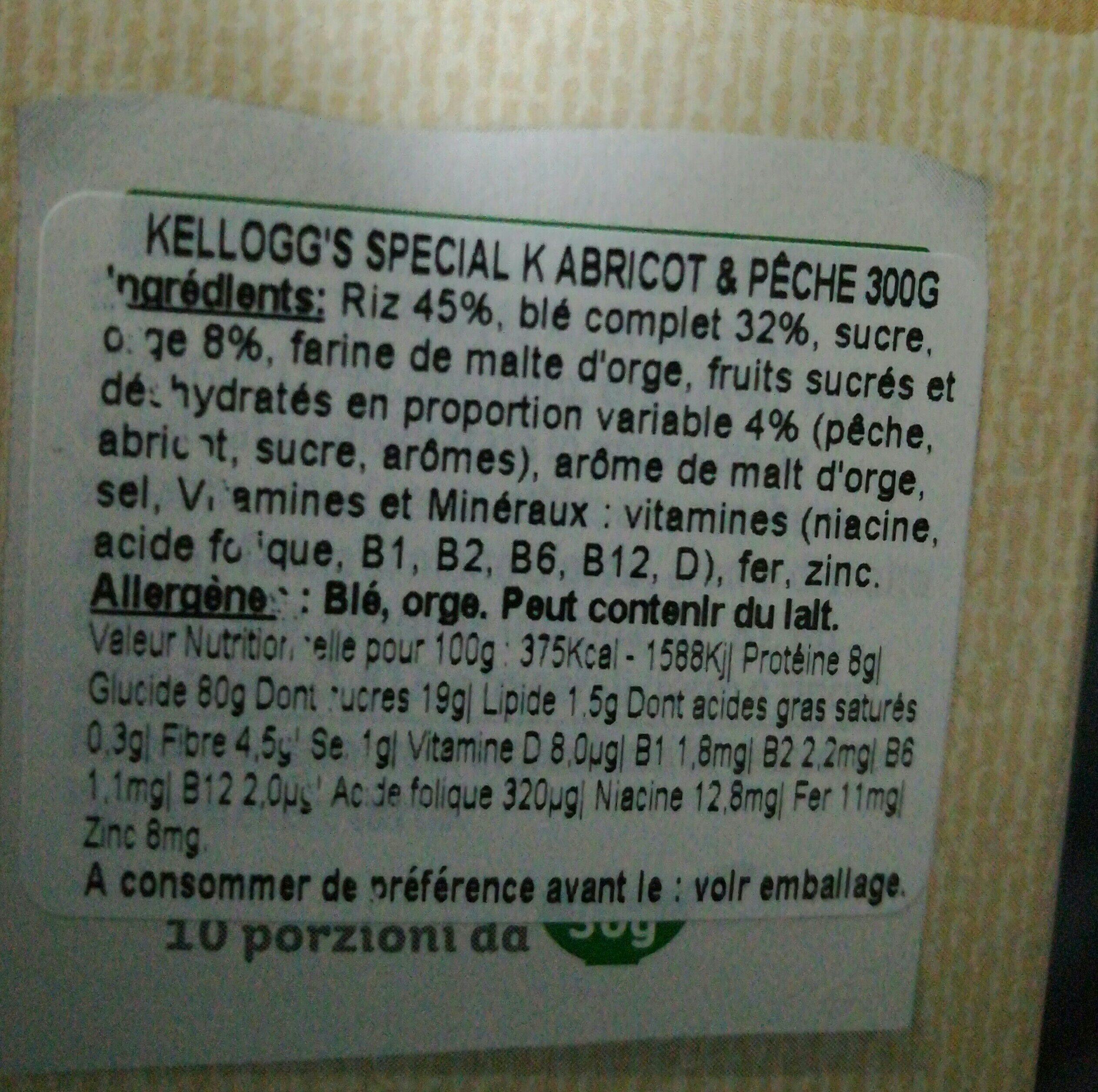 Kellogg's Special K Albic / Pesc. gr300 (e) - Ingredients