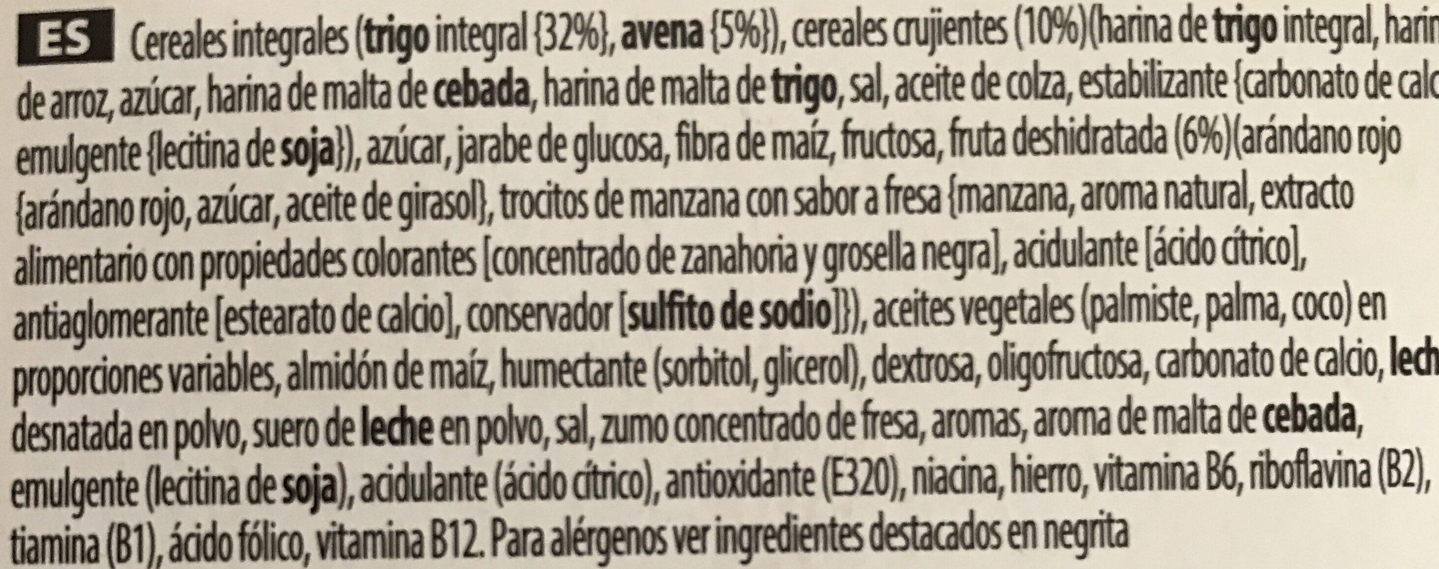 Kellogs Special K Frutas rojas - Ingredientes - es