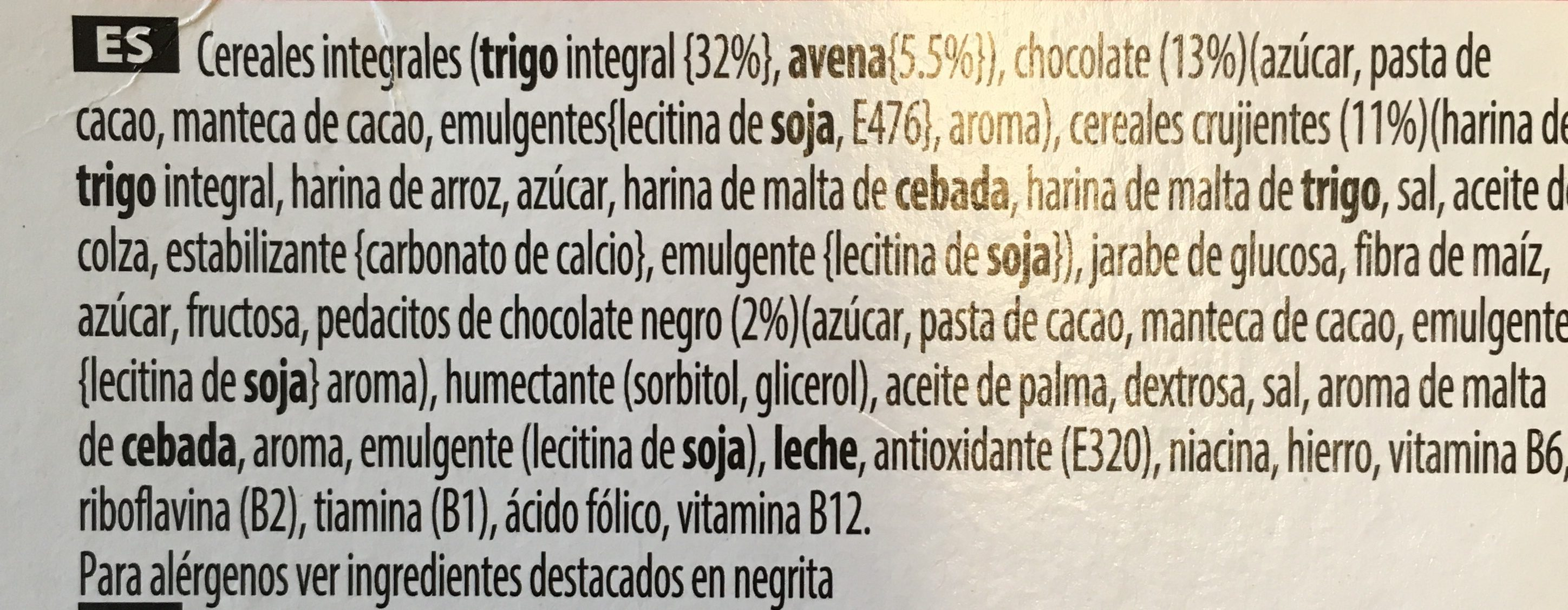 Barritas Special K Chocolate Negro - Ingredientes - es