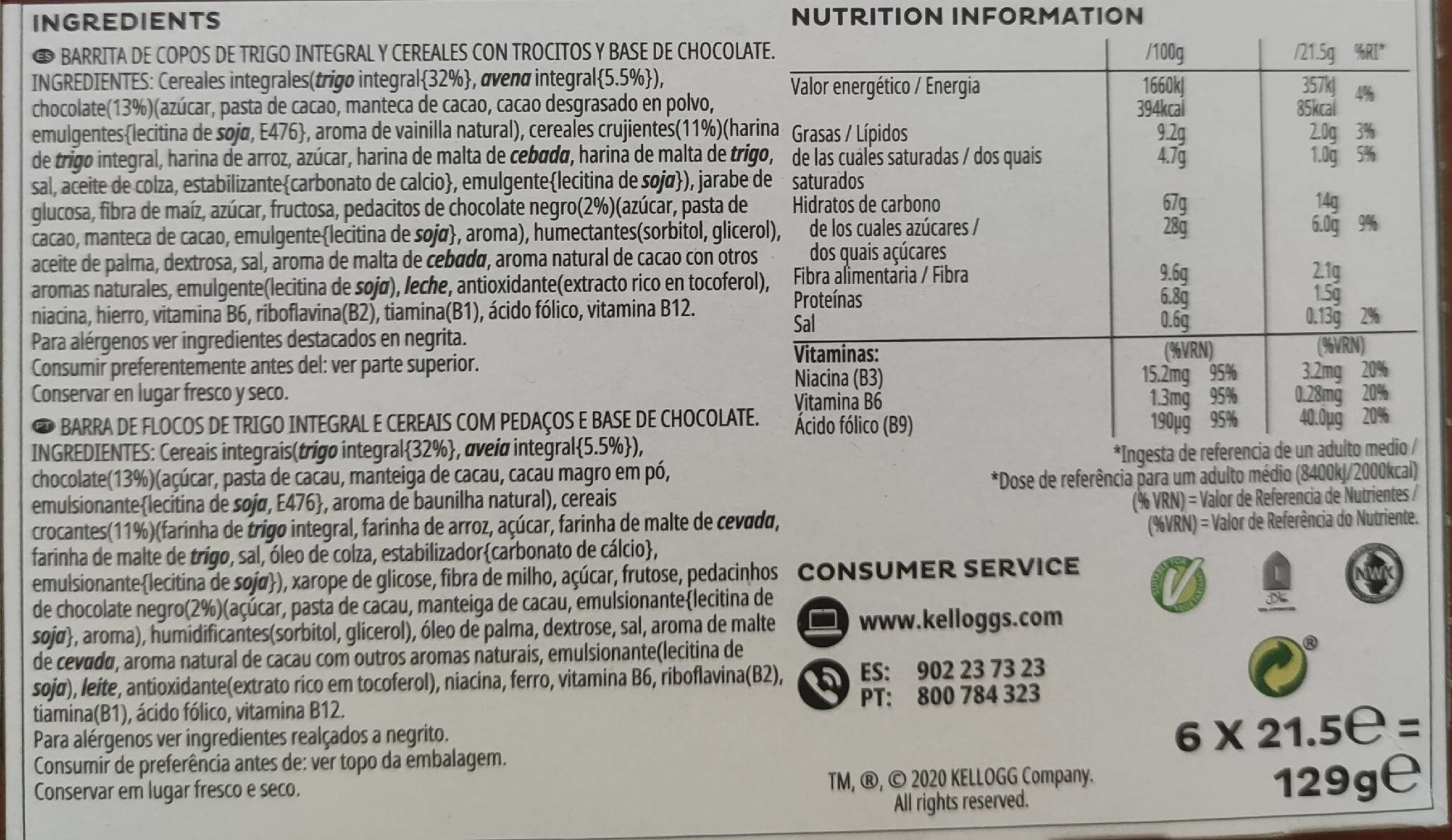 Barritas Special K Chocolate Negro - Nutrition facts - es