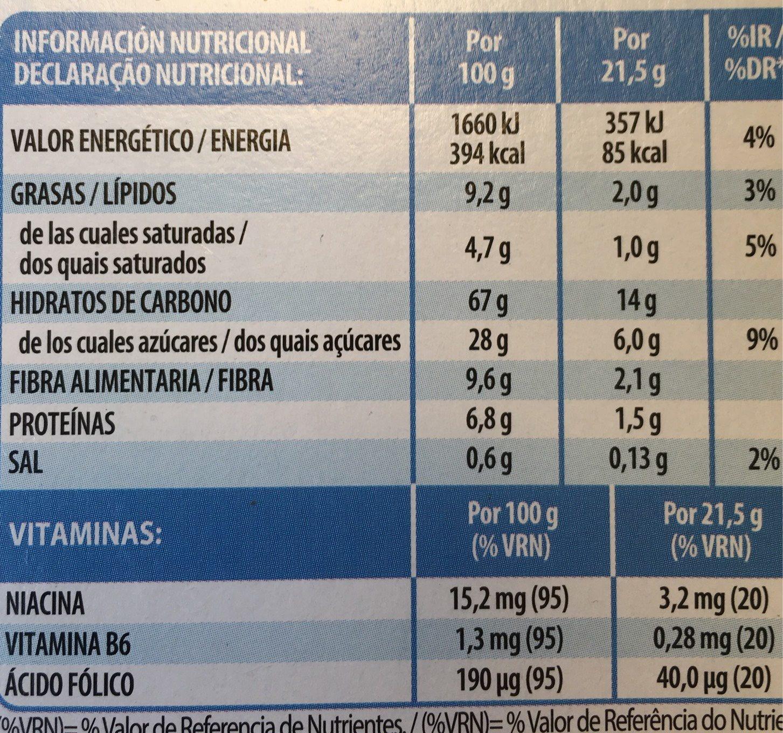 Barritas de cereales Special K - Informations nutritionnelles
