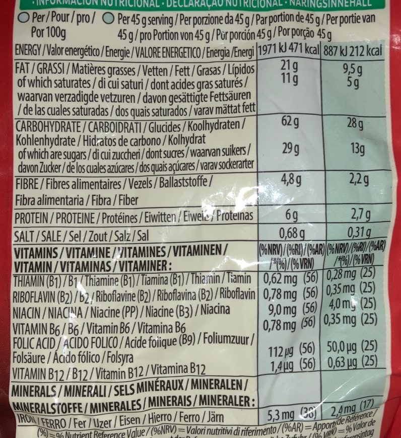 Kellogg's Extra Fruit 1.5kg - Informations nutritionnelles - fr