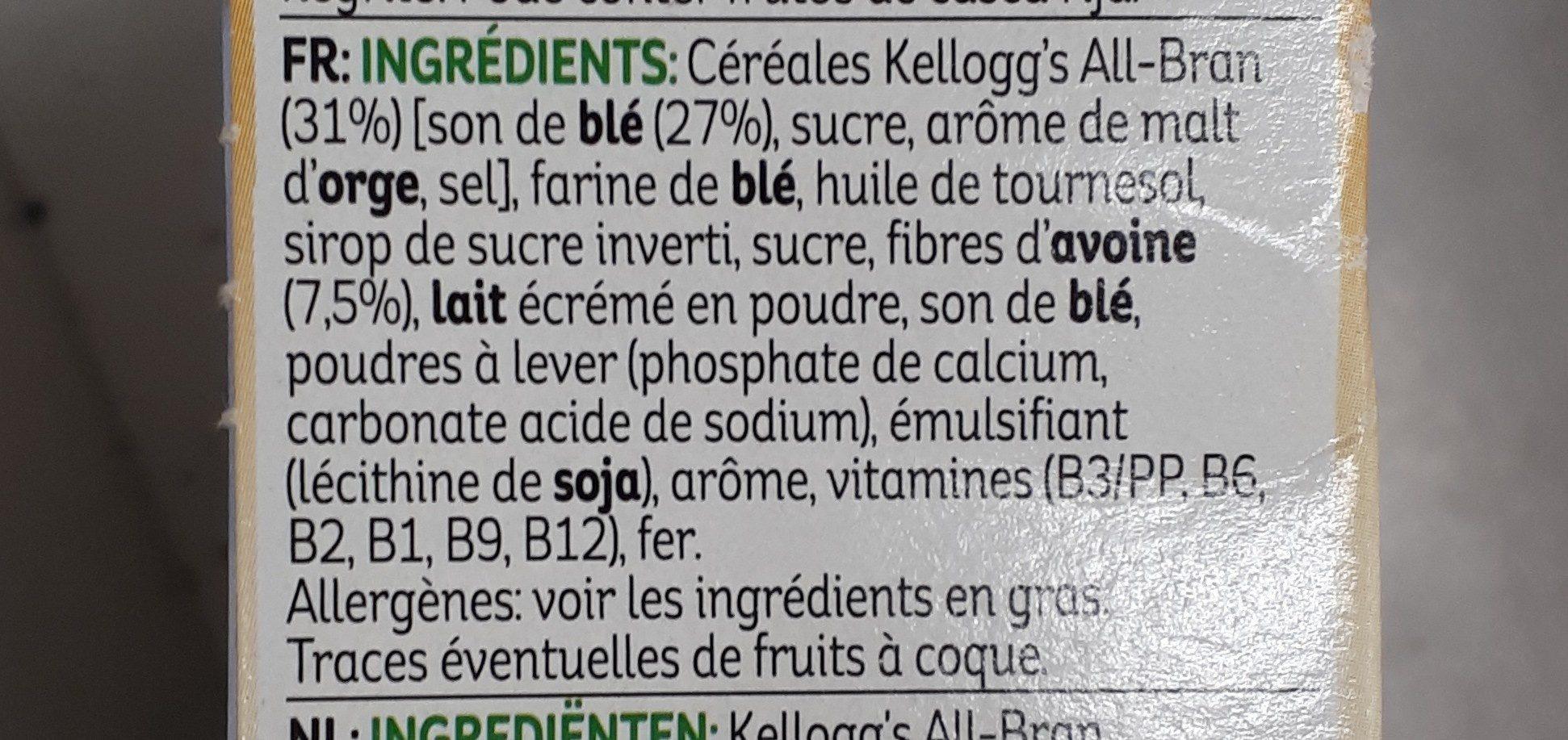 Kellogg's All-bran Nature Bars - Ingredientes - fr