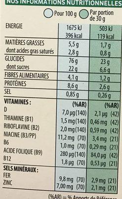 Special k chocolat au lait - Informations nutritionnelles - fr