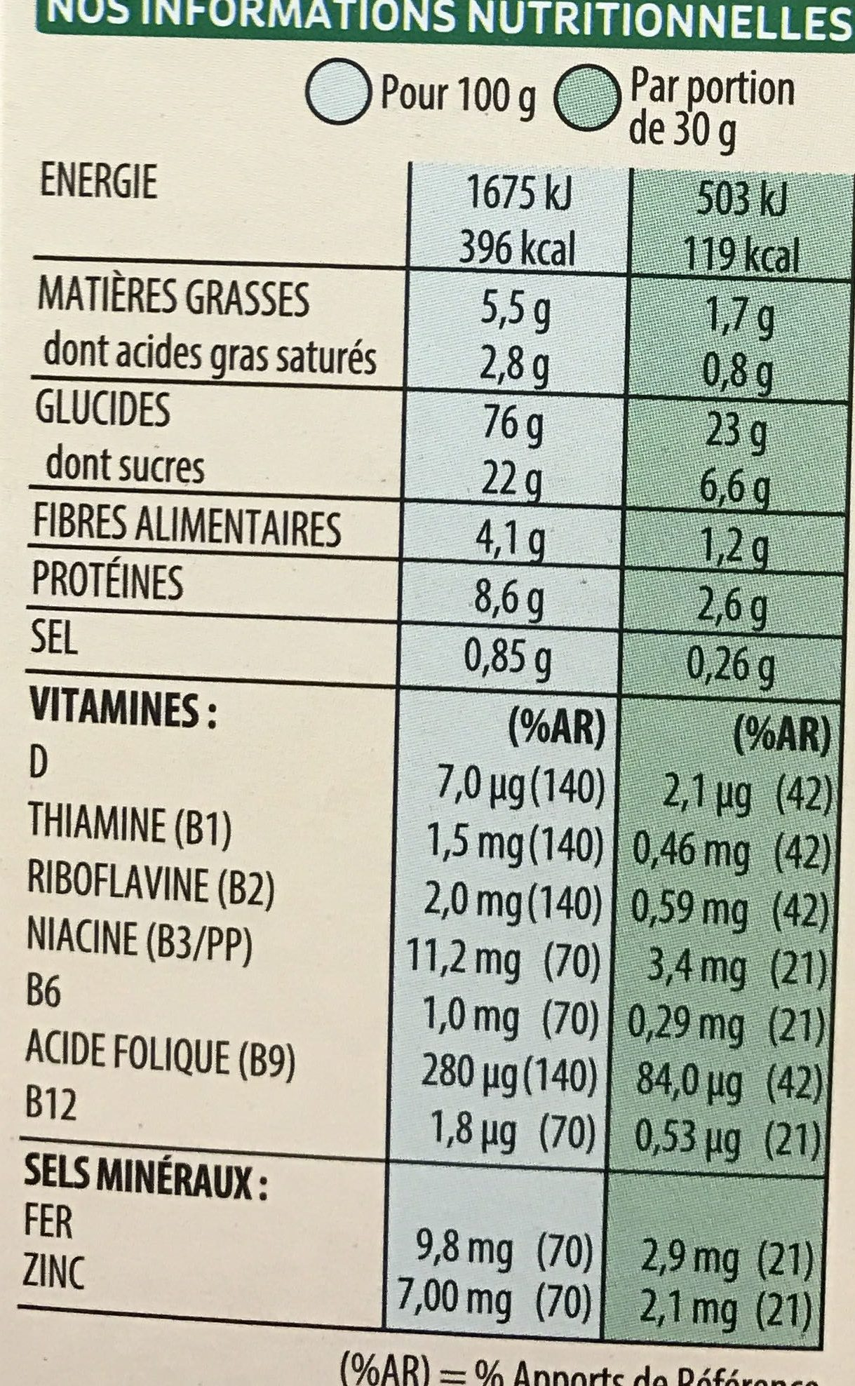 Special k chocolat au lait - Nutrition facts - fr