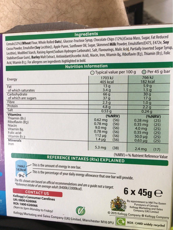 Nutri grain breakfast choc chip - Informations nutritionnelles - en