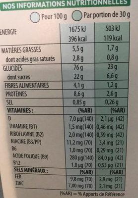 Spécial K au chocolat au lait - Informations nutritionnelles