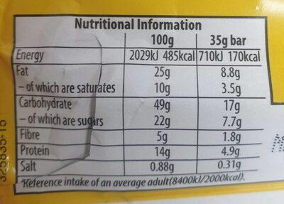 Crunchy Nut Choc & Peanut Bar - Voedingswaarden - en