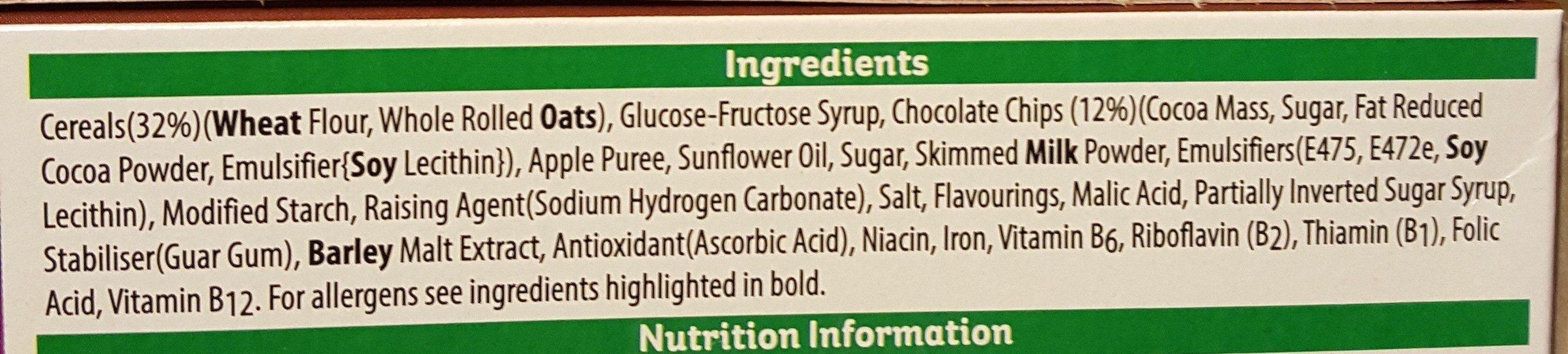 Nutri-Grain Choc Chip Breakfast Bakes 6 x - Ingrédients - en