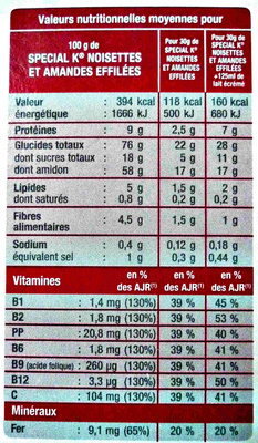 Special K - Noisettes et Amandes effilées - Informations nutritionnelles - fr