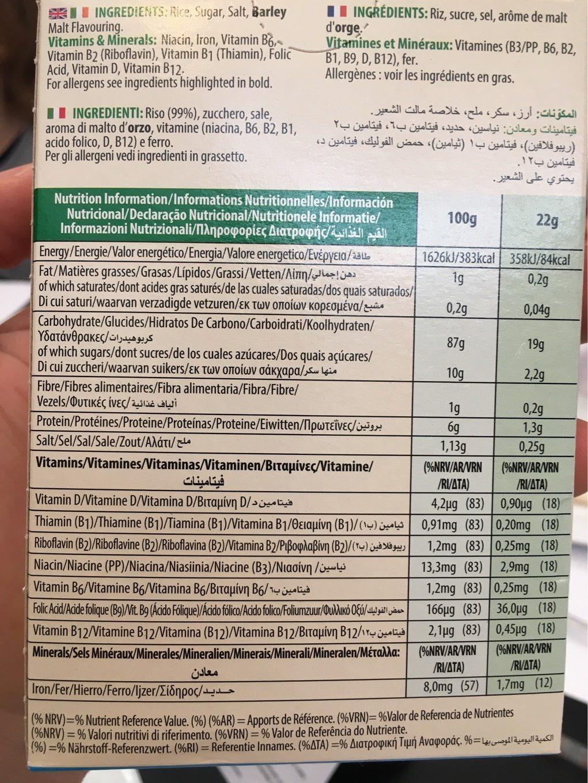 Kellogg's Rice Crisp - Información nutricional