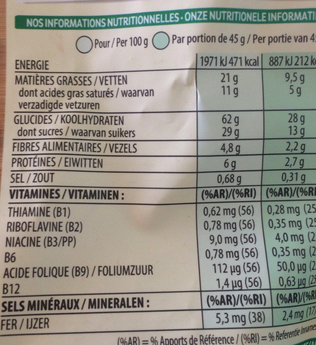 Extra pépites - Voedingswaarden - fr