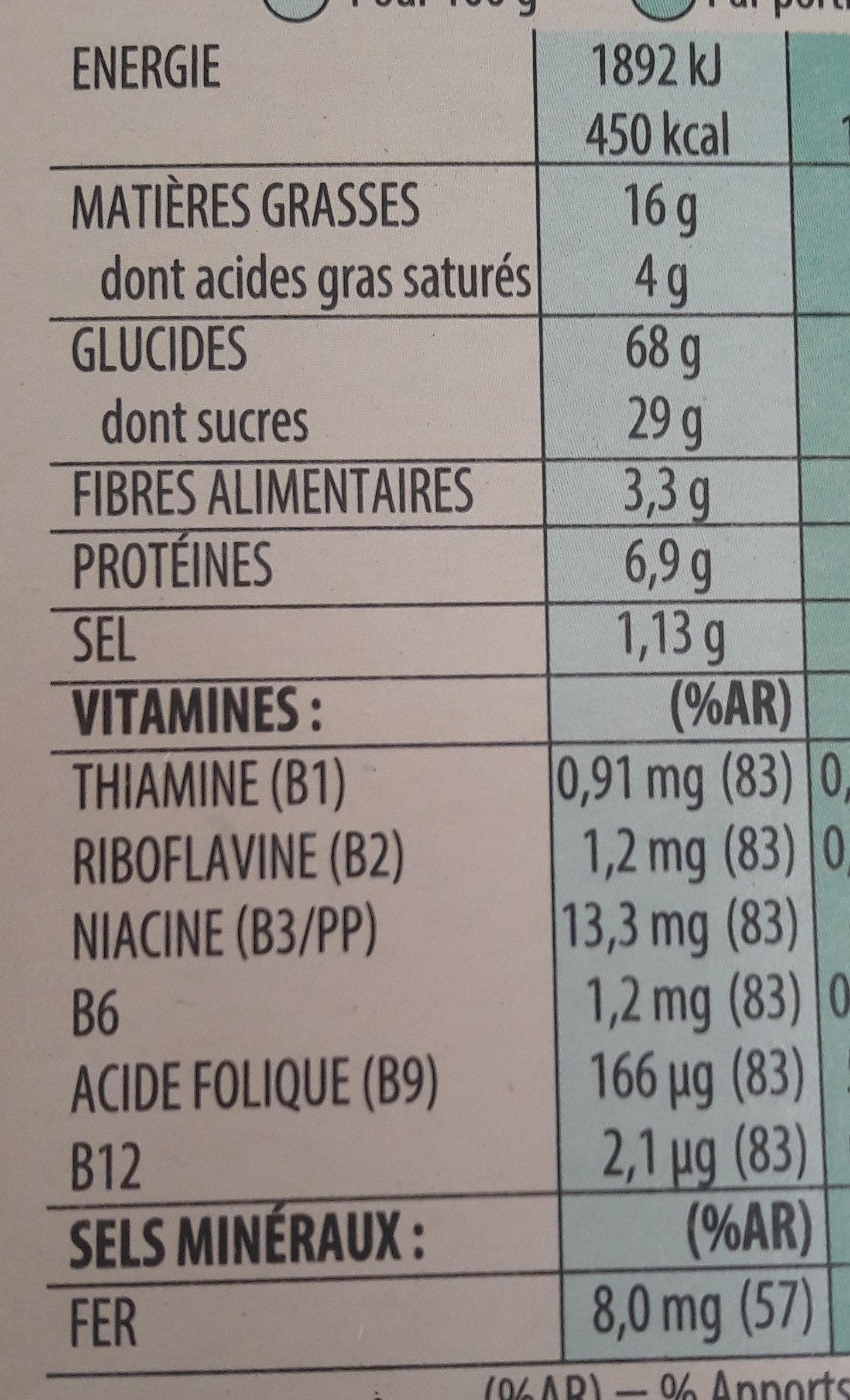 Céréales trésor chocolat noisette - Valori nutrizionali - fr