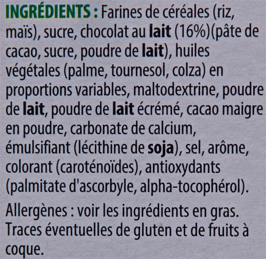Trésor Sticks Chocolat au Lait - Ingrediënten