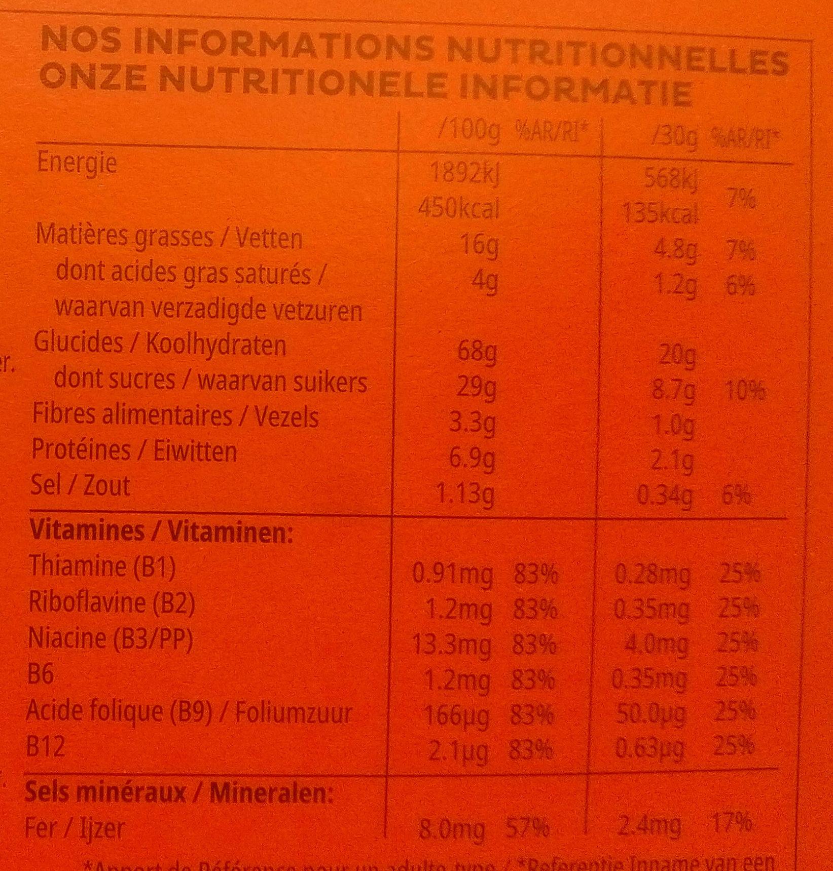 Trésors - Voedingswaarden