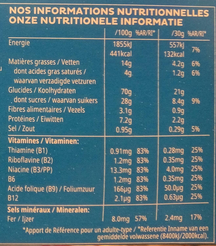 Kellogg's Trésor Chocolat au lait - Informations nutritionnelles