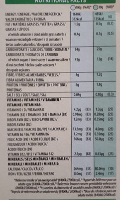 Smacks - Información nutricional