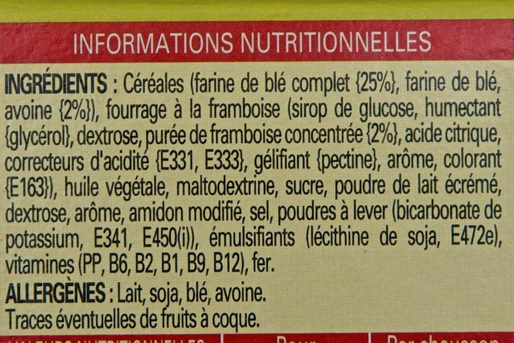 Nutri-grain à toaster Framboise - Ingrédients - fr