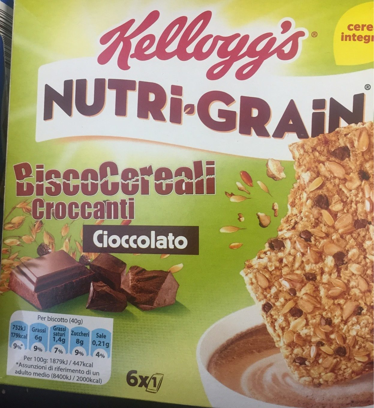 Kelloggs Nutri Grain Chocolate Chip Cereal Bars 6 x - Product - fr
