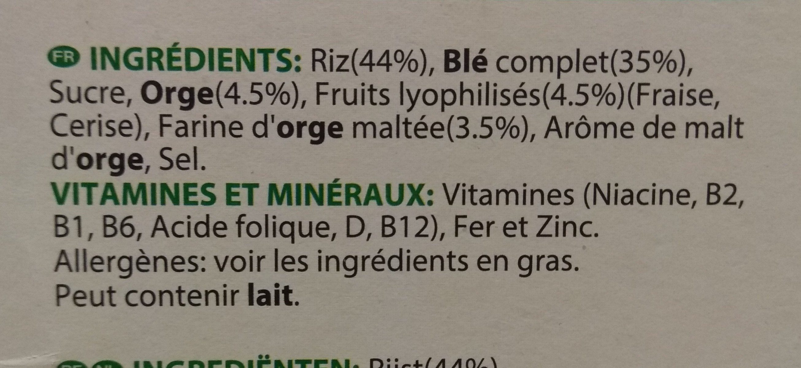 Spécial K Fruits Rouges - Ingredients