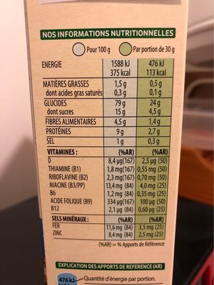 Spécial K Nature - Informations nutritionnelles