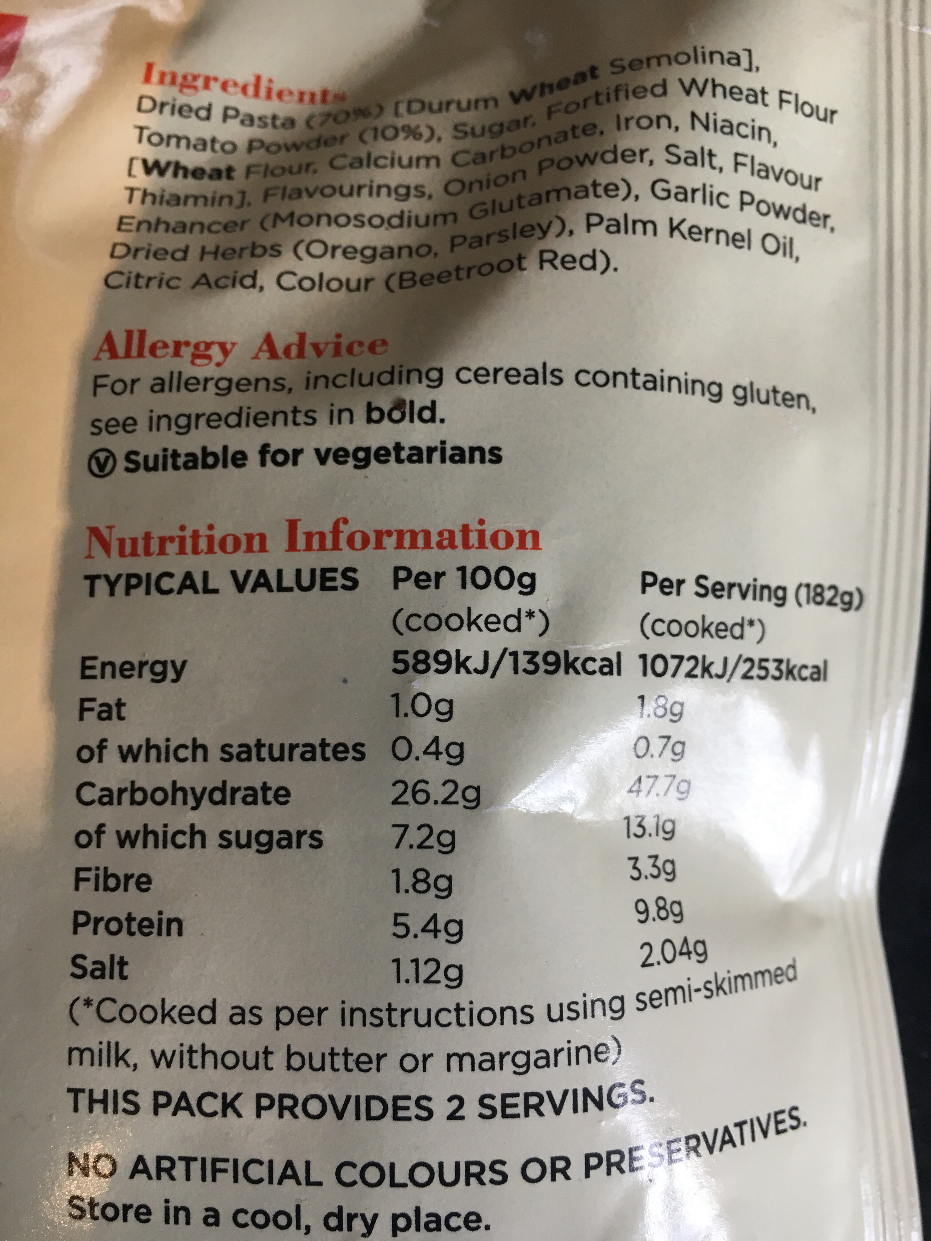 Tomato Onion and Herb Pasta & Sauce - Nutrition facts - en