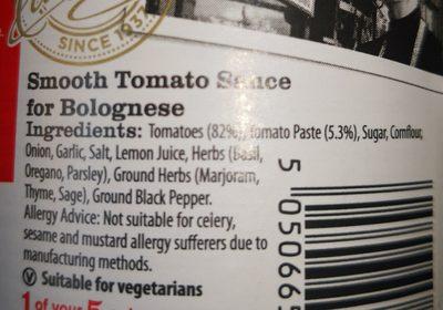 Original smooth Bolognese sauce - Ingrediënten - en