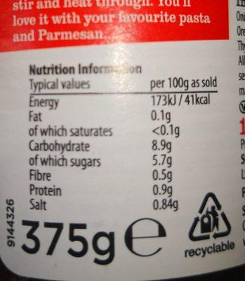 Original smooth Bolognese sauce - Voedingswaarden - en