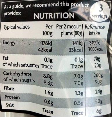 Plums - Informations nutritionnelles - en