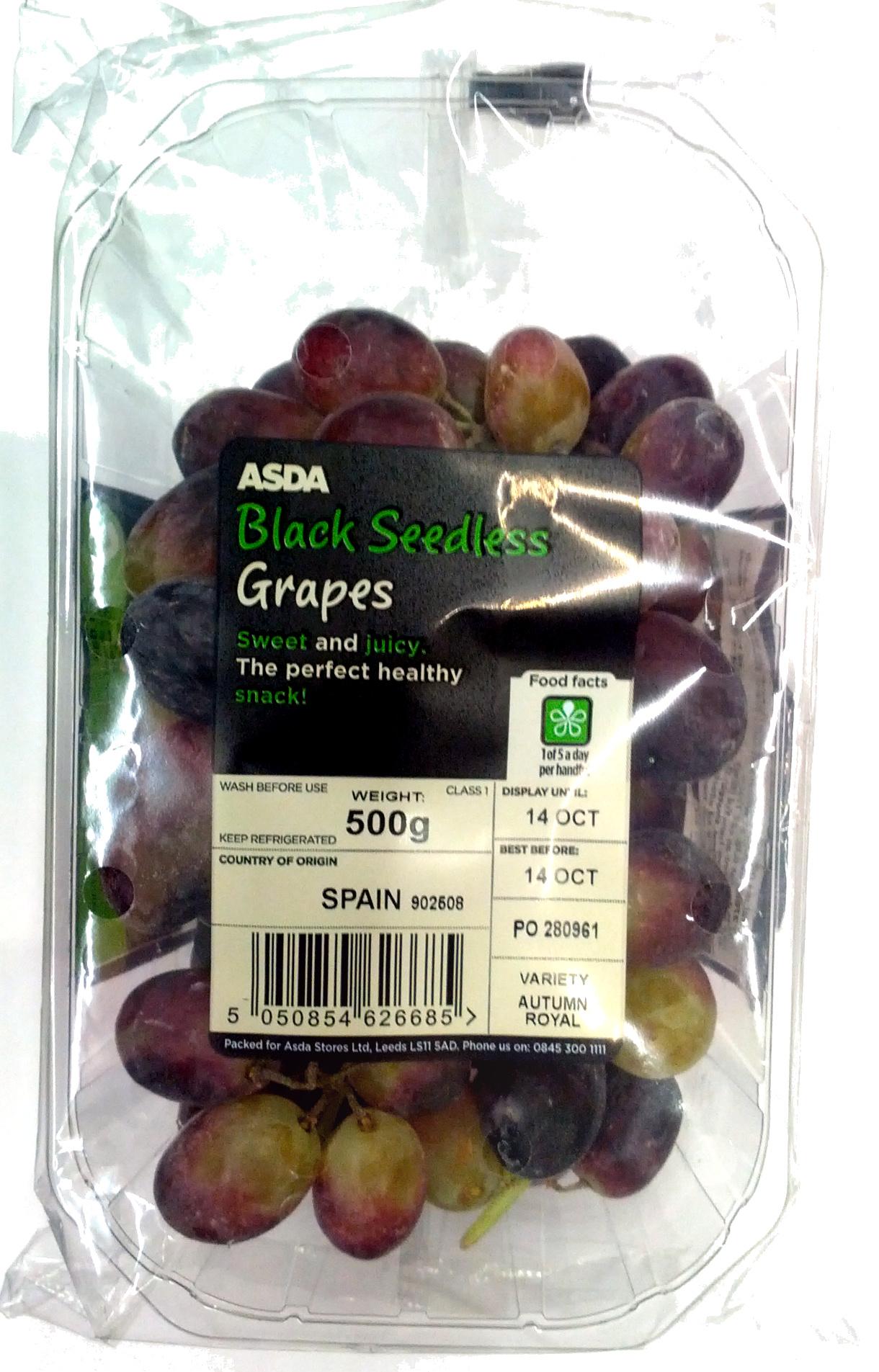 black seedless grapes - asda - 500g