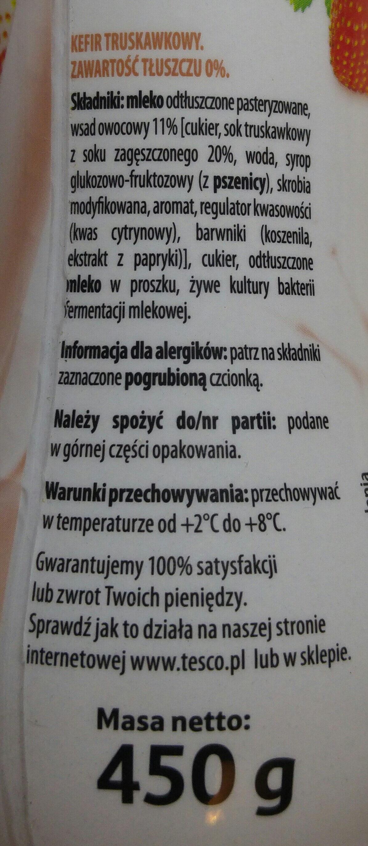 Kefir truskawkowy 0% - Składniki - pl