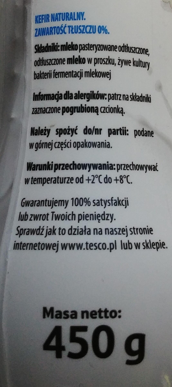 Kefir naturalny 0 %. - Składniki - pl