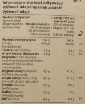 Laktózmentes ESL tej 1,5% - Nutrition facts - hu