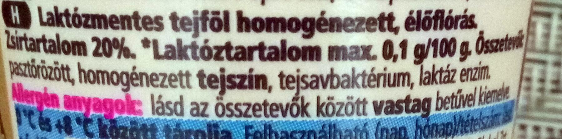 FreeForm Laktózmentes Tejföl 20% - Ingrédients - hu