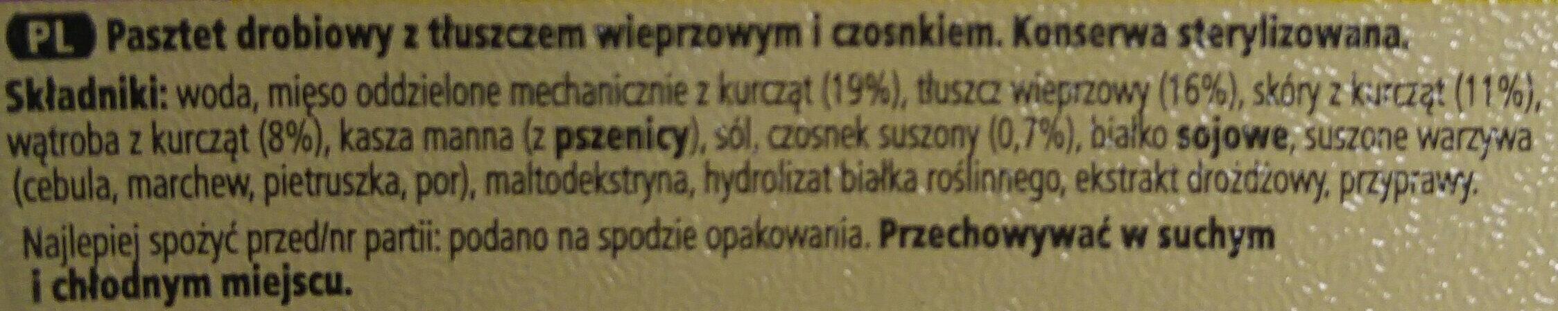 Pasztet drobiowo-wieprzowy z czosnkiem. - Składniki - pl