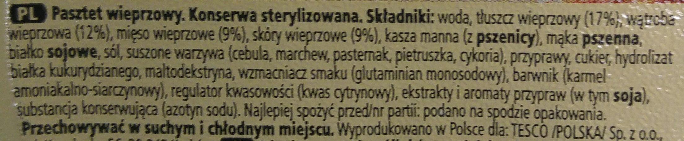 Pasztet wieprzowy - Składniki - pl
