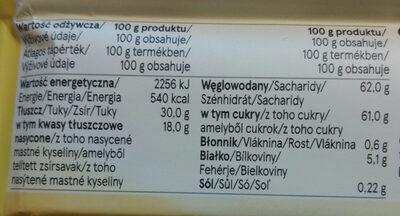 Czekolada biała - Nutrition facts - pl