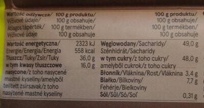 Czekolada mleczna - Wartości odżywcze - pl