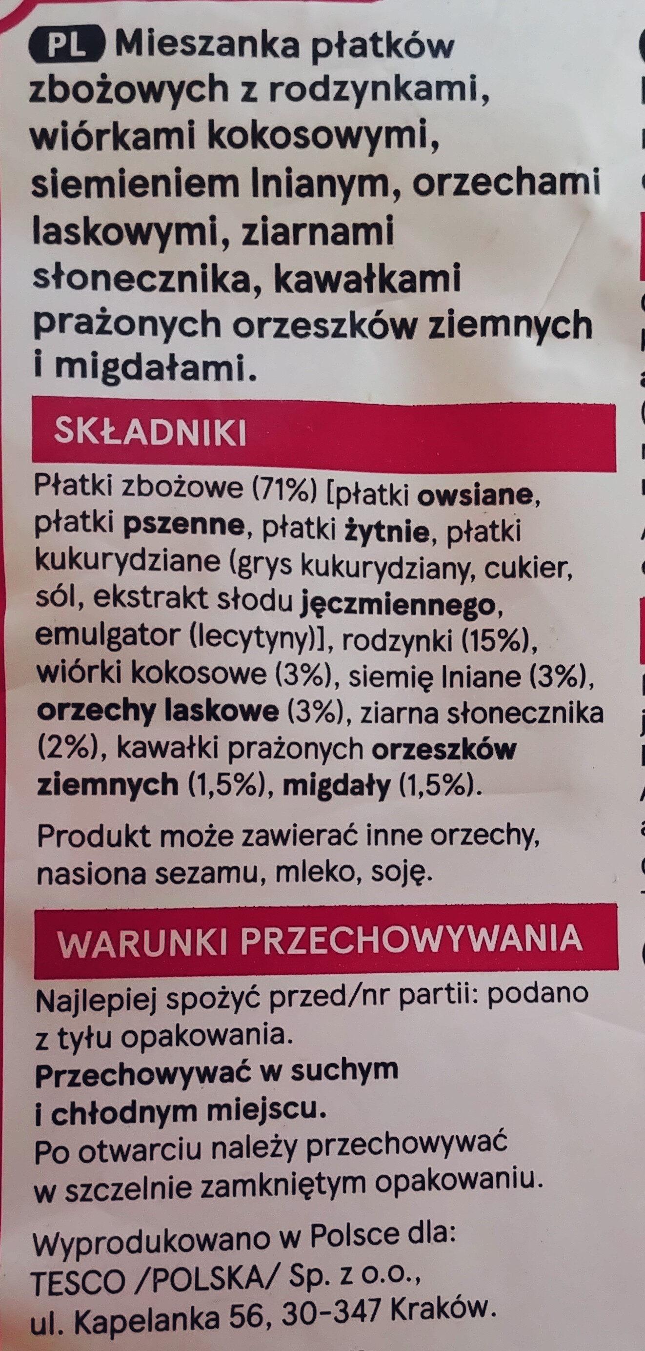 Muesli with fruits, nuts & seeds - Ingrediënten - pl