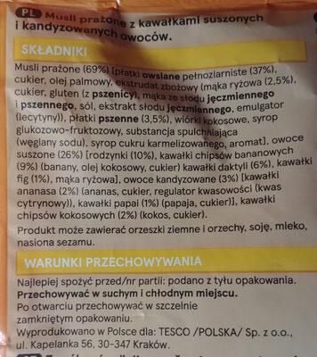 Musli prażone z kawałkami suszonych i kandyzowanych owoców. - Składniki - pl