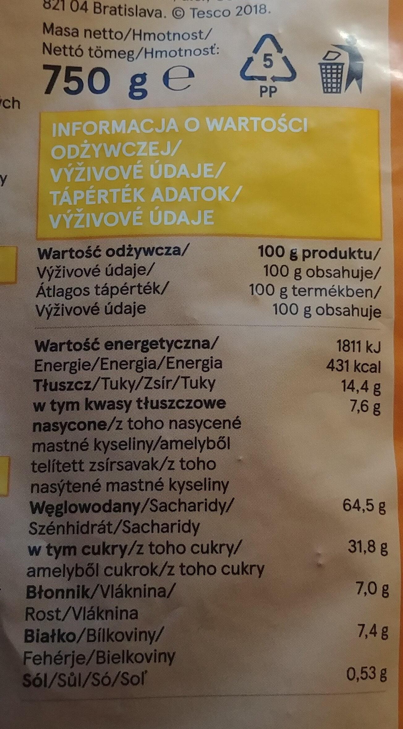 Musli prażone z kawałkami suszonych i kandyzowanych owoców. - Wartości odżywcze - pl